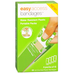 Easy Access Bandages Water Resistant Plastic Portable Packs, 3/4 x 3, 60 ea