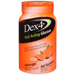 Dex 4 Glucose Tablets, Orange, Orange Flavor, 50 ea
