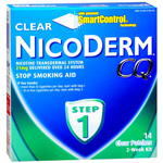 NicoDerm CQ Smoking Cessation Aid, Clear Patch, Step 1, 14 ea