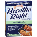 Breathe Right Nasal Strips, Mentholated, SM/MED, 10 ea
