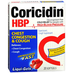 Coricidin HBP Chest Congestion & Cough, Non-Drowsy Liqui-Gels, 20 ea