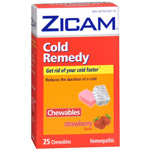 Zicam Cold Remedy Homeopathic Chewables, Strawberry, 25 ea