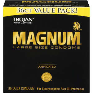 Trojan Magnum Lubricated Latex Condoms, Large Size, 36 ea 163604