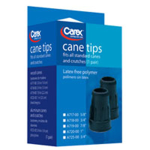 Carex latex free polymer cane tips, black color, #A717-00 - 1 pair