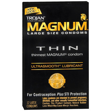 Trojan Condoms Magnum Lubricated Latex Thin, Large 12 ea 286870