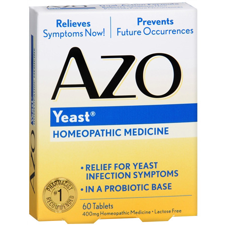 AZO Yeast, Natural Symptom Prevention &amp; Relief, 400mg, Tablets, 60 ea